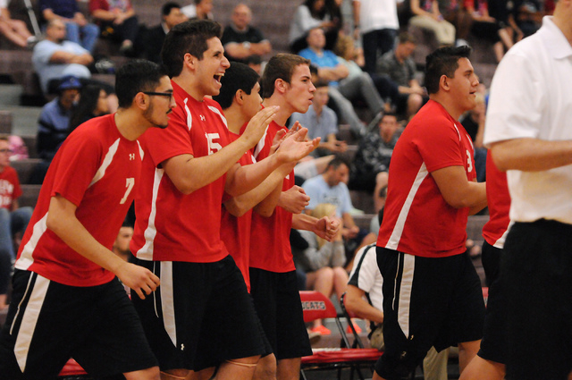 Las Vegas' players react to a play during the Sunrise Region boys volleyball champions ...