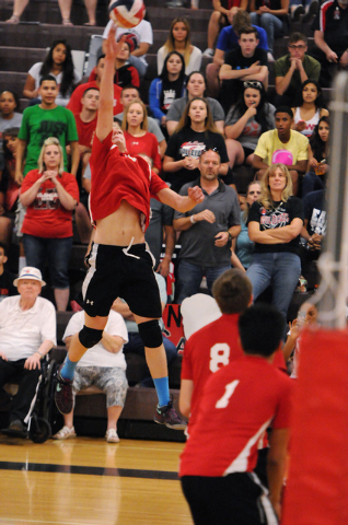 Las Vegas' Chris Kampshoff (9) goes up for a kill during the Sunrise Region boys voll ...