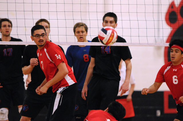 Las Vegas' Guillermo Gonzales (7) and Shayne Marquez (6) watch as Brian Singson (1) sa ...