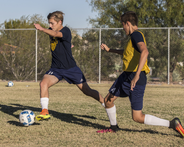 Spring Valley soccer player Ethan Orme (11) makes a run on goal during practice on Wednesday ...