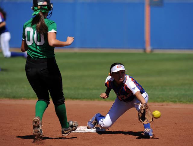 Rancho base runner Sissy Lupton (00) is thrown out by Bishop Gorman shortstop Sierra Dias at ...
