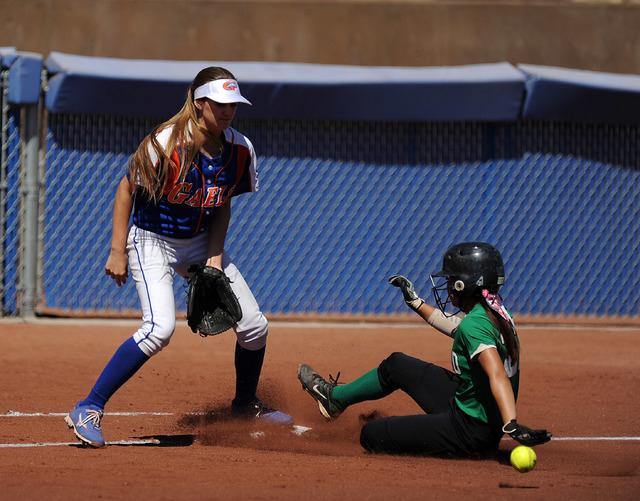 Rancho base runner Katerina Anthony safely advances to third base on a Rancho base hit as Bi ...
