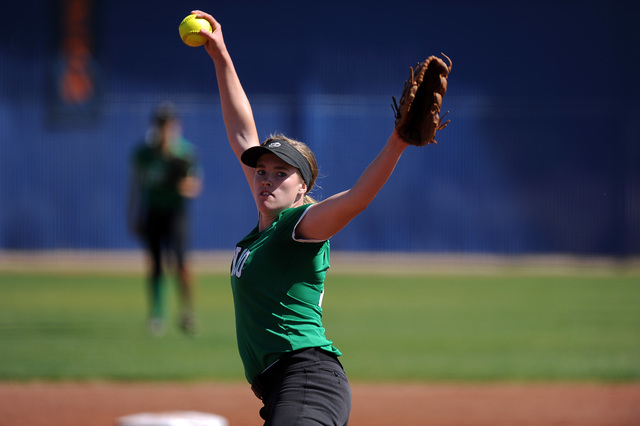 Rancho starting pitcher Samantha Pochop delivers against Bishop Gorman in the first inning o ...