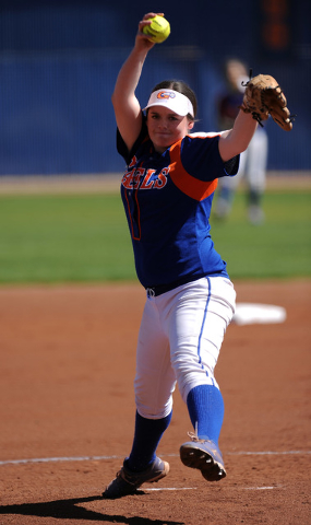 Bishop Gorman starting pitcher Samantha Stanfill delivers against Rancho in the first inning ...