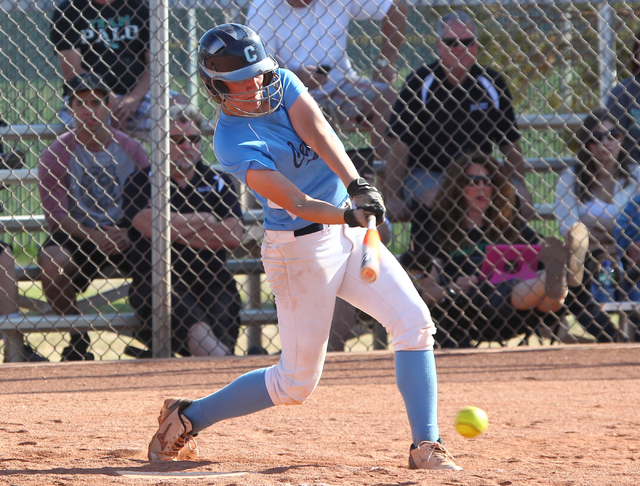 Centennial's Heather Bowen swings at a pitch against Palo Verde on Tuesday. Centennial ...