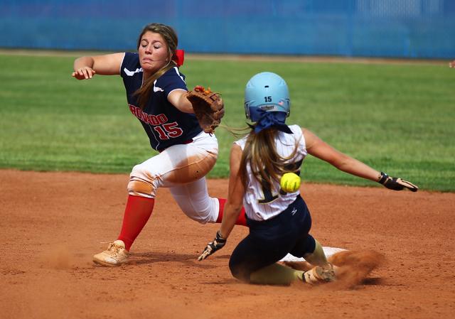 Foothill's Hannah Stevens (15) slides safely into second as Coronado's Danielle ...