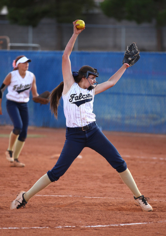 Foothill's Sarah Penksa fires a pitch against Coronado on Wednesday. The Falcons won, ...
