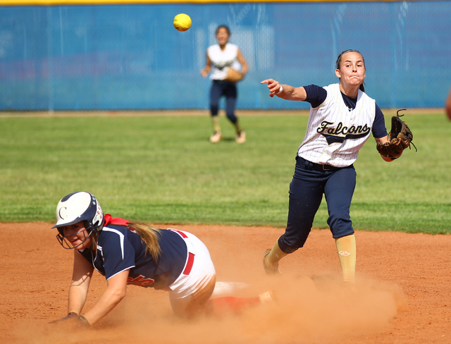Foothill's RaeAnn Brems throws to first after forcing out Coronado's Danielle Am ...