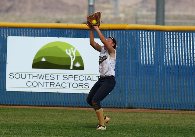 Foothill's Kelsey McFarland catches a fly ball off the bat of Coronado's Lauren ...