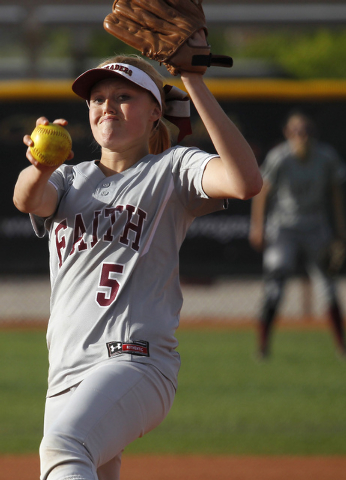 Faith Lutheran pitcher Mosie Foley (5) delivers against Cheyenne on Tuesday. Foley allowed t ...