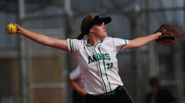 Rancho pitcher Sam Pochop delivers to Liberty in the fourth inning of their prep softball ga ...