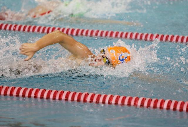 Bishop Gorman's Amy Lubawy competes in the 100-yard freestyle during the Division I st ...