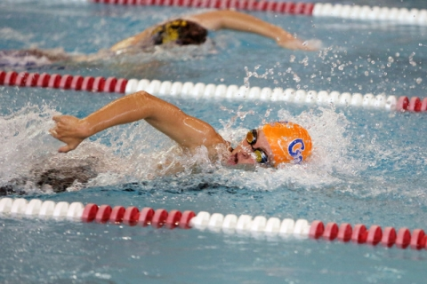 Bishop Gorman's Amy Lubawy leads off the 400-yard freestyle relay during the Division ...