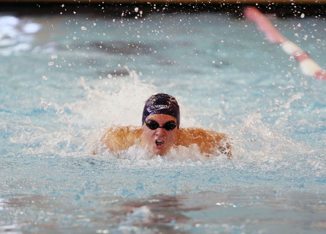 Coronado's Nick Moorehead competes in the 100-yard butterfly during the Division I sta ...