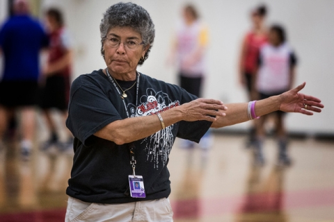 Head girls basketball coach Diane Hernandez during practice at Southeast Career and Technic ...