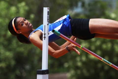 Bishop Gorman's Vashti Cunningham misses her third attempt at the high jump during the ...