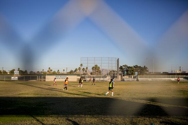 The Western Warriors girls soccer team practices at Western High School, Wednesday, Nov. 9, ...