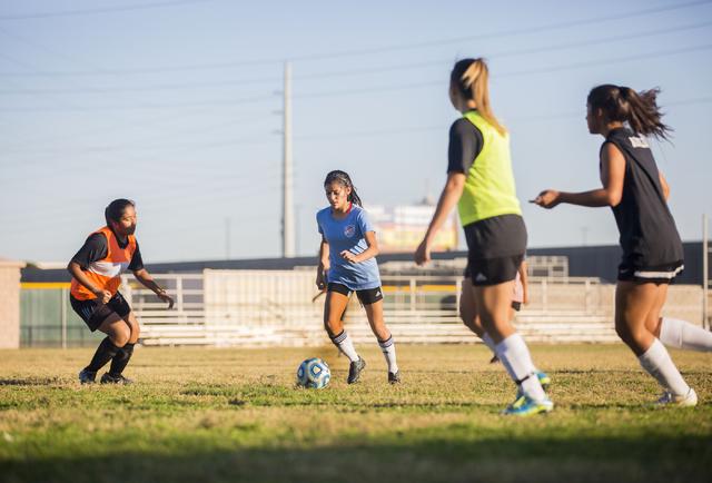 Western Warrior girls soccer midfielder and captain Kirsten Molinaruns, senior, second from ...