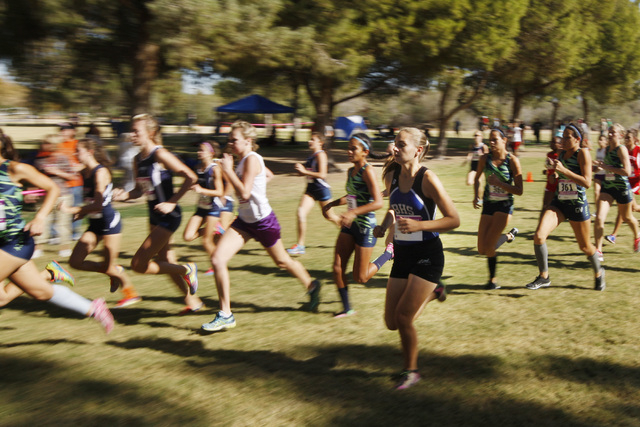 Competitors head through Sunset Park during the Sunrise Region cross country championships F ...