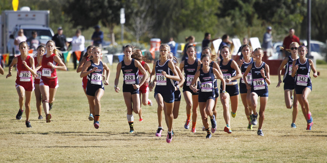 Eventual winner, Foothill's Karina Haymore (339), leads the field at the start of the ...