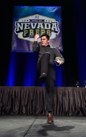 Ron Chan of Desert Oasis High School celebrates his Spirit Award during the Best of Nevada P ...