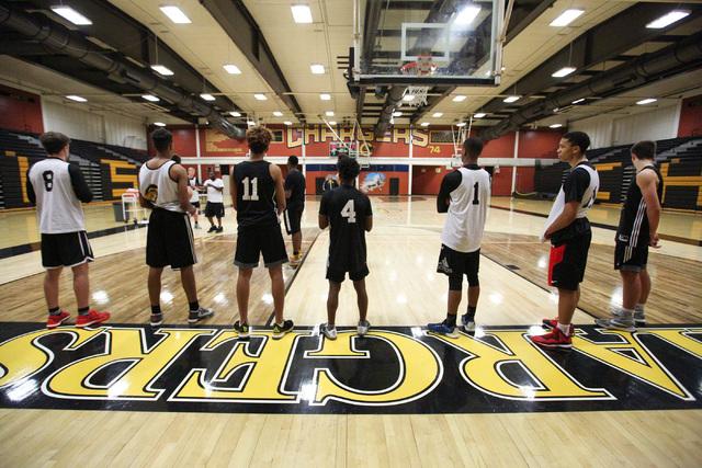 The Clark High School basketball team practices at Ed W. Clark High School in Las Vegas on T ...
