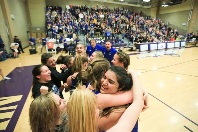 The Moapa Valley High School Pirates celebrate beating Virgin Valley High School in the Clas ...
