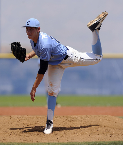 Centennial pitcher Cooper Powell delivers against the Bishop Gorman in the second inning of ...