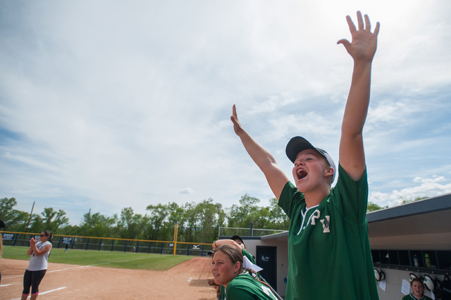 Palo Verde third baseman Lauren Oxford cheers as a teammate scores against Foothill in the D ...