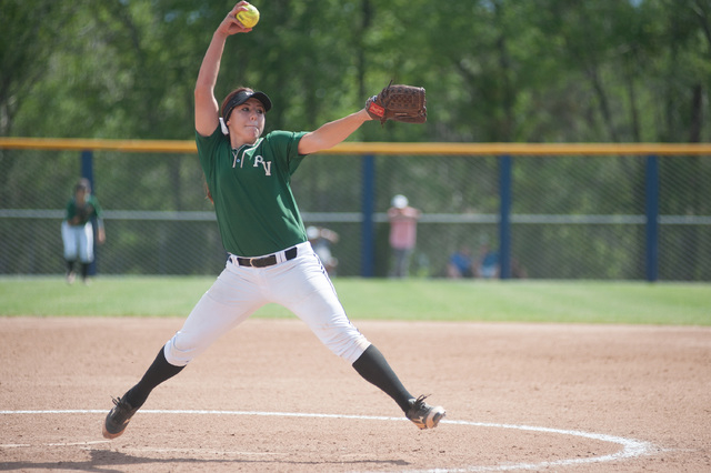 Palo Verde's Rachel Williams throws a pitch against Foothill in the Division I state s ...