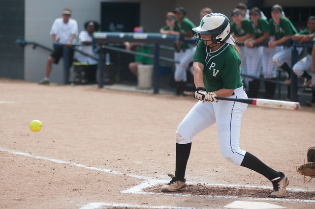 Palo Verde's Rachael Turner swings at a pitch against Foothill in the Division I state ...