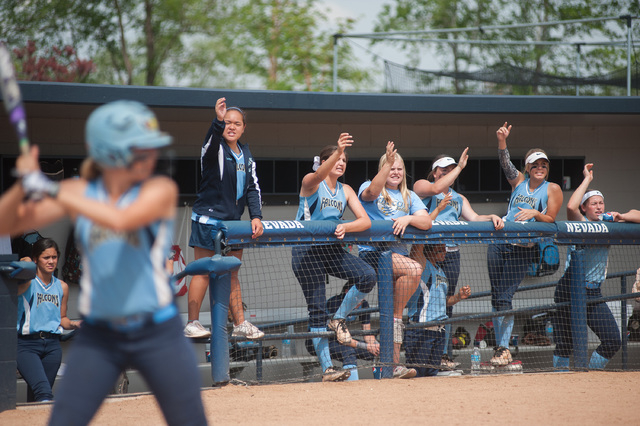 Foothill's dugout cheers on Sarah Maddox as she bats against Palo Verde in the Divisio ...