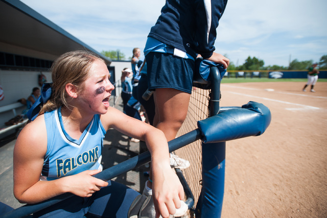 Foothill catcher Hannah Stevens cheers from the dugout while playing against Palo Verde in t ...