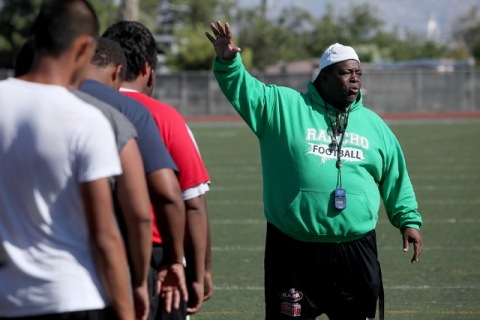 Rancho head coach Tyrone Armstrong leads his team through practice on Thursday. The team wil ...
