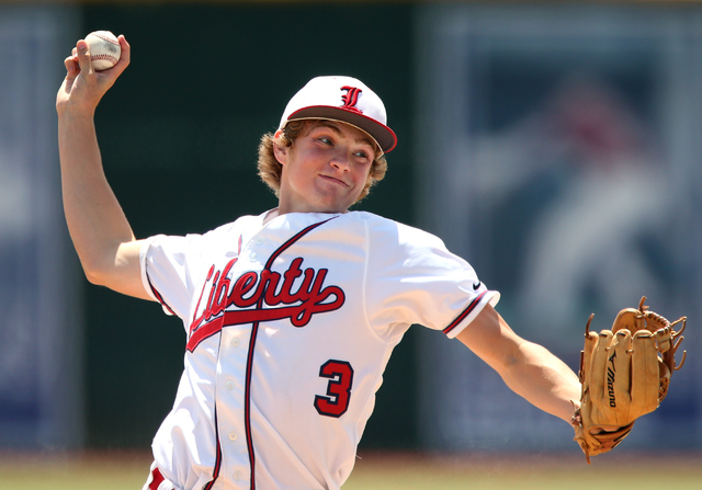Liberty's Trevor Mullaney pitches against Centennial in the Division I state champions ...