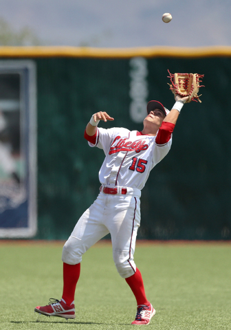 Liberty second baseman Ethan Ibarra makes a catch against Centennial in the Division I state ...