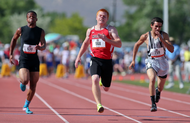 Tonopah's Scotty May, center, wins the Division IV boys 100-meter dash with a time of ...