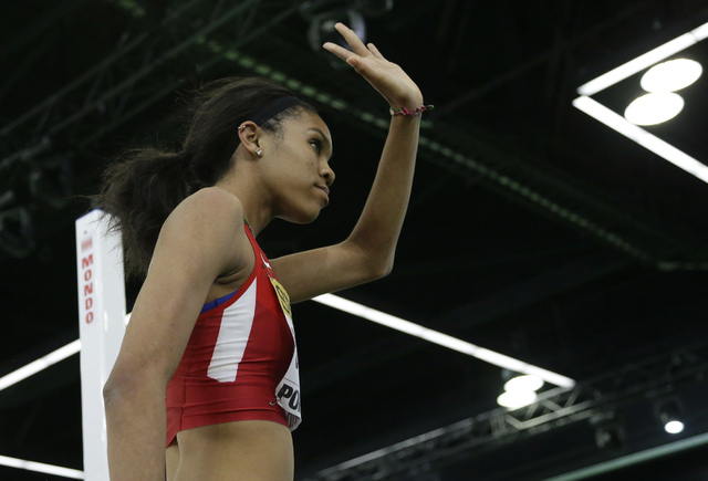 United States' Vashti Cunningham waves to the crowd after an attempt in the women&#821 ...