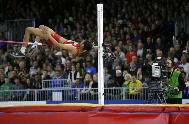 United States' Vashti Cunningham clears the bar during the women's high jump fin ...