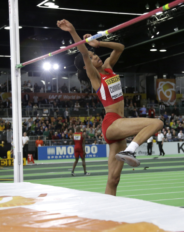 United States' Vashti Cunningham makes an attempt in the women's high jump final ...