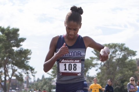 Alexis Gourrier from Centennial High School finishes first during the Regional 4A Sunset Gir ...