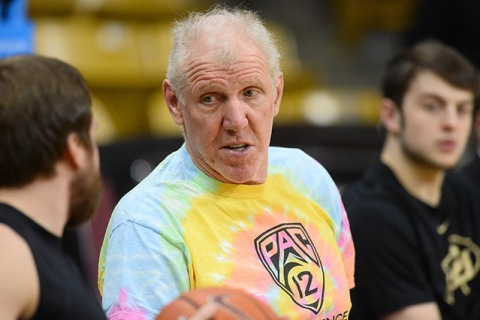 Retired basketball player and current Pac 12 Networks analyst Bill Walton interviews a playe ...