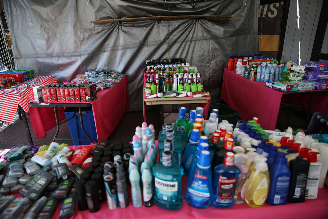 Hygiene products are sold at a booth inside the Broadacres Marketplace in North Las Vegas, Satu ...