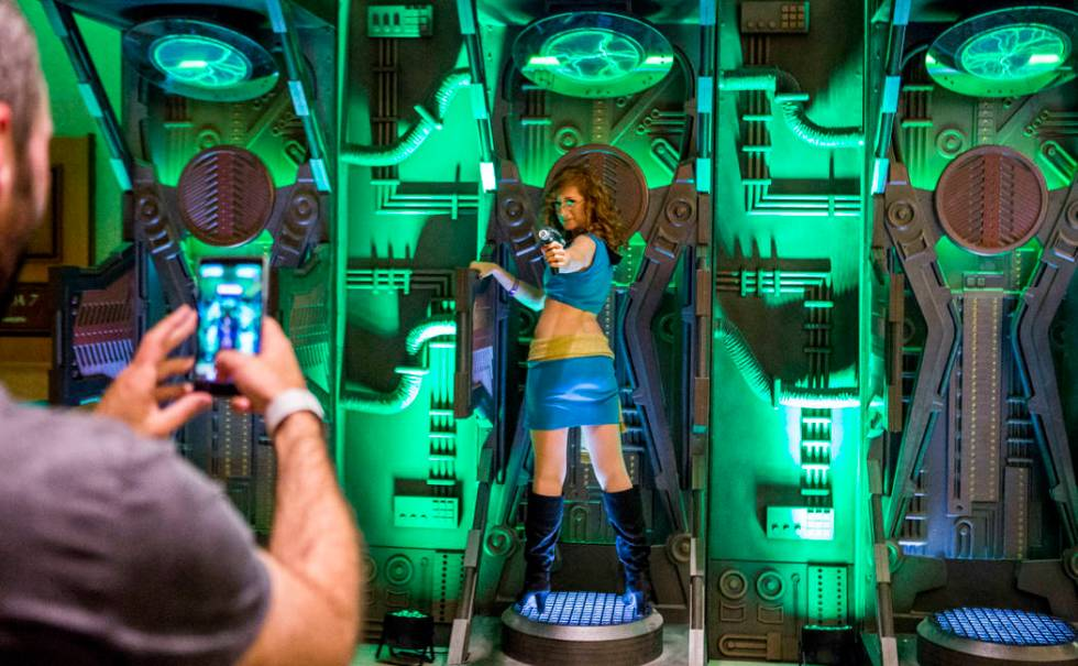 Heather Ferris, a Las Vegas resident, has her photo taken during the Official Star Trek Convent ...