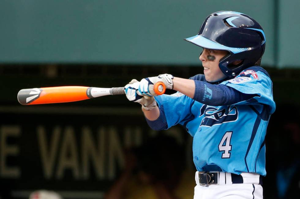 Las Vegas' Drew Laspaluto (4) drives in three runs with a double off Chicago's Joshua Houston i ...