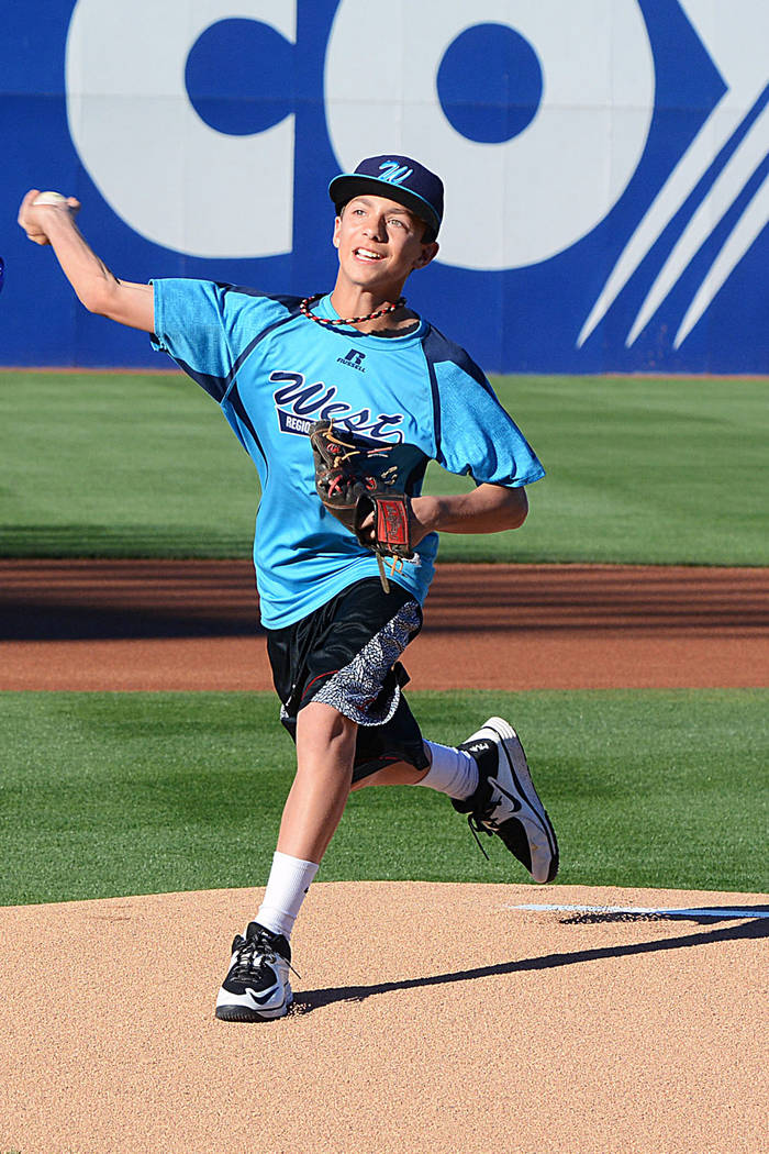 Mountain Ridge's Dallan Cave, who played in the Little League World Series in 2014, throws a pi ...