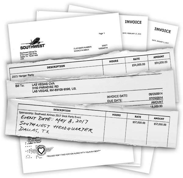 Three Southwest Airlines' invoices that bill the Las Vegas Convention and Visitors Authority fo ...