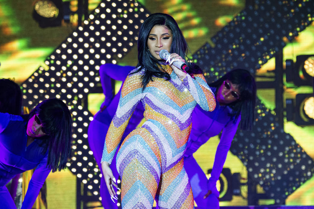 In this June 16, 2019 file photo, Cardi B performs at the Bonnaroo Music and Arts Festival in M ...