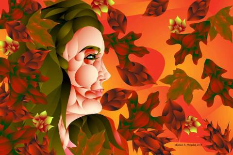 """Sandi Woman in Red"" by Michael Mahalak"