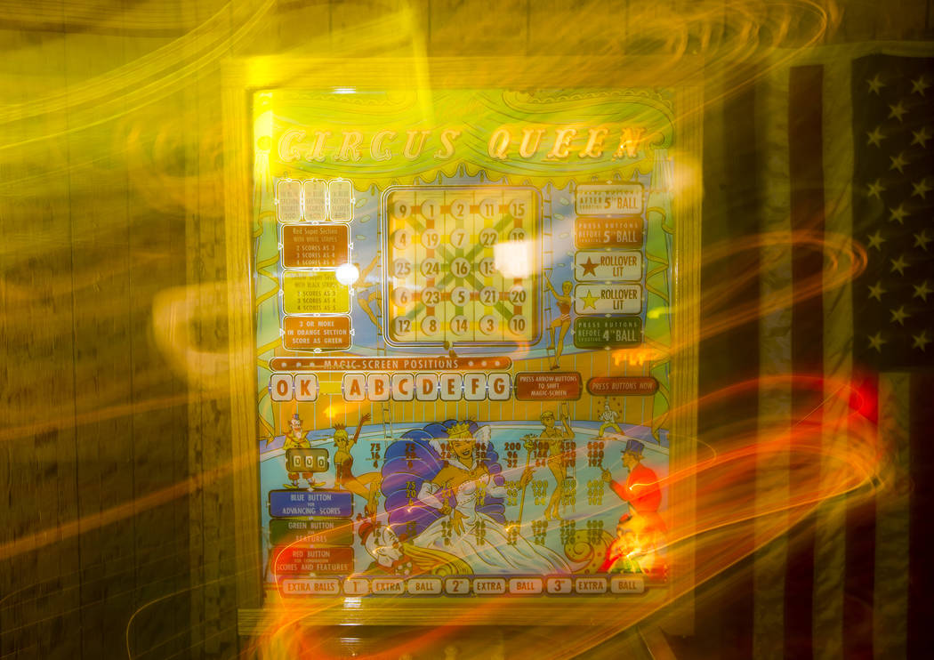 """A view of the """"Circus Queen"""" bingo pinball machine made by Bally's at the home of Jer ..."""
